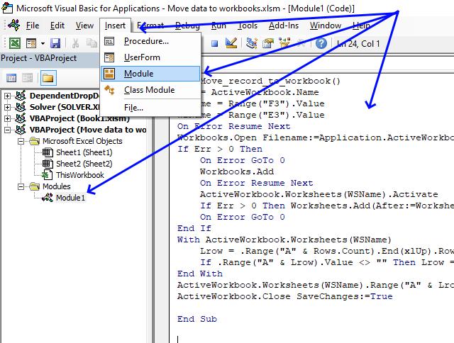 save data to workbooks automatically VB editor