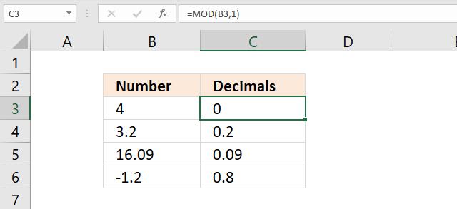 MOD function leave decimals