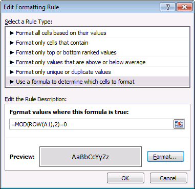 mod function - conditional formatting formula