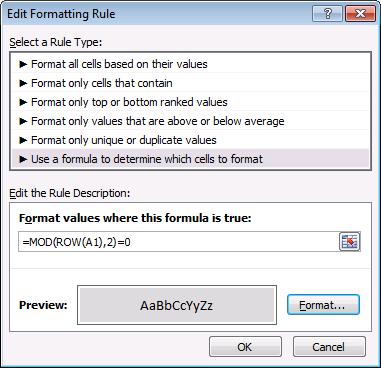 mod function - conditional formatting formula