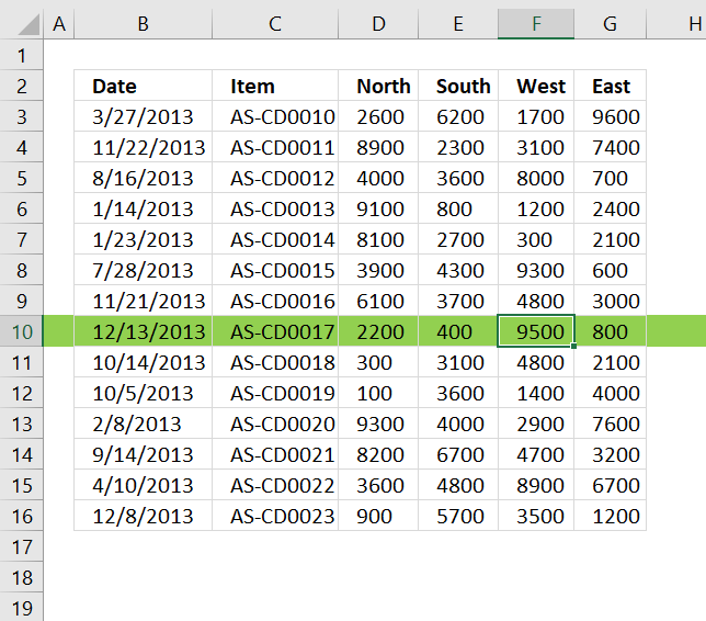 Highlight row and column of selected cell