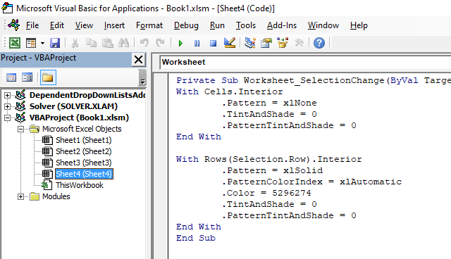 How to highlight row of the selected cell programmatically access event code1