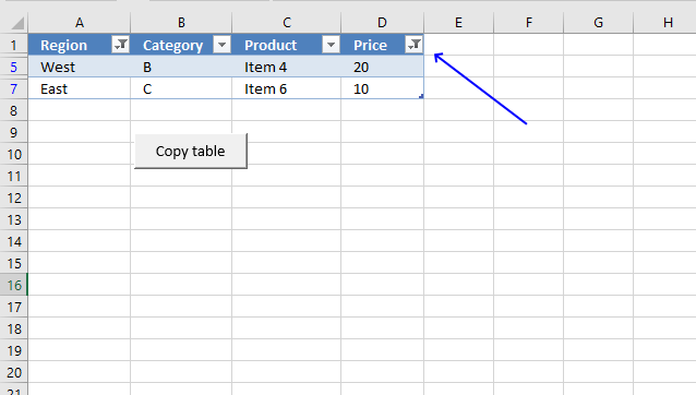 Copy filtered Excel tables programmatically filter button