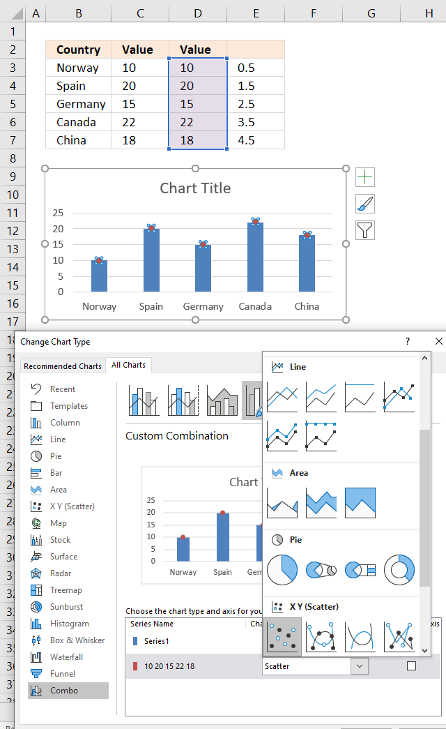 How to add pictures above chart columns change chart type1