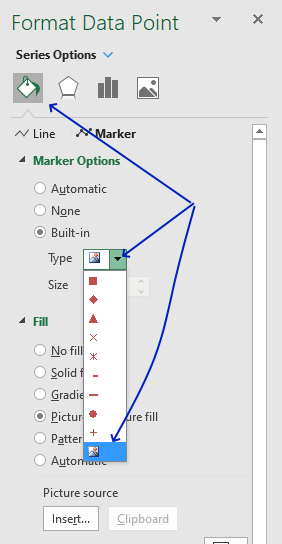 How to add pictures above chart columns format data point