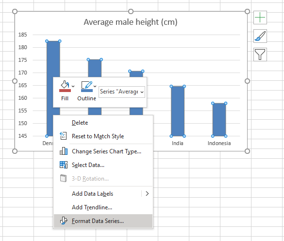 Use pictures in a column chart change chart gap width