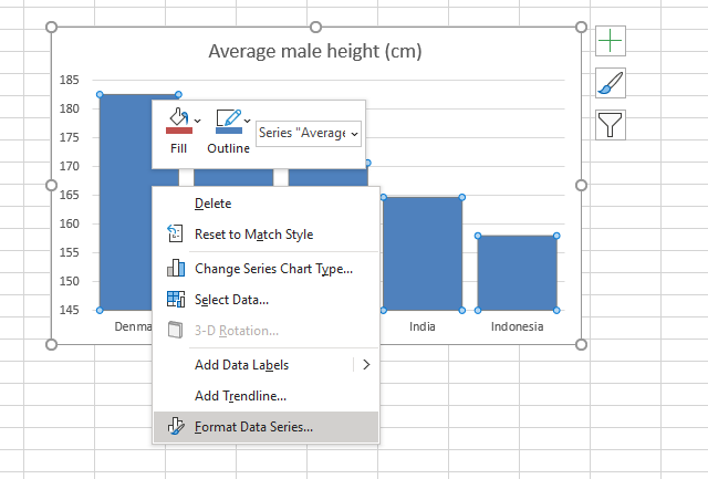 Use pictures in a column chart insert picture