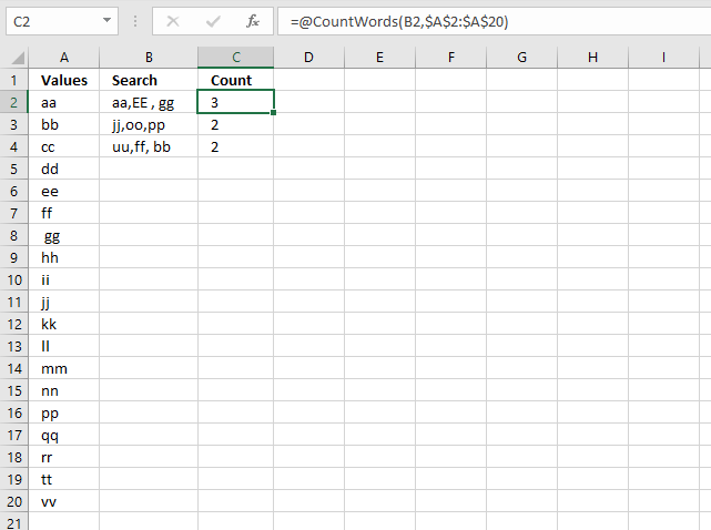 Count comma separated values VBA