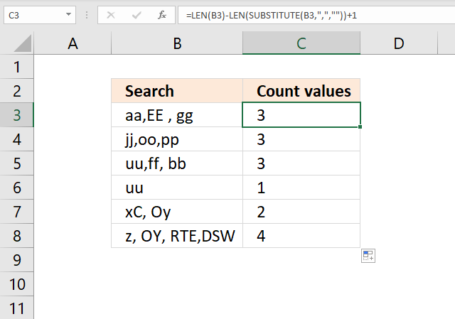 Count comma separated values formula