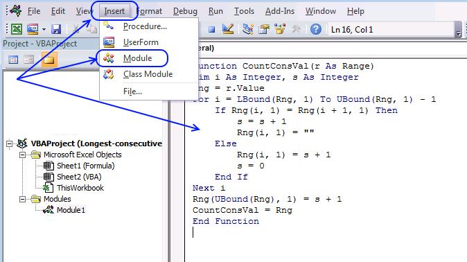 Add code to module