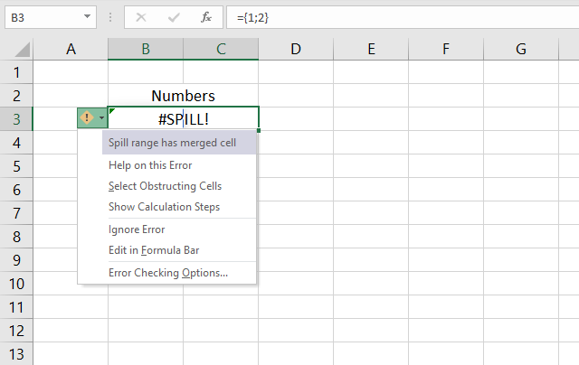 Merged cells excel 365 spill range has merged cell