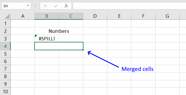 Merged cells excel 365 spill range has merged cell1