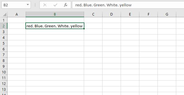 Text to columns method dot