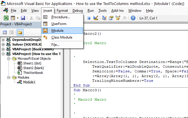 Text to columns method where to put the code