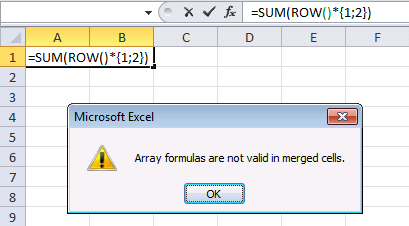 array formula in merged cells - error message