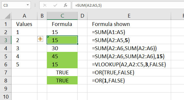Find cells containing formulas with literal values 1
