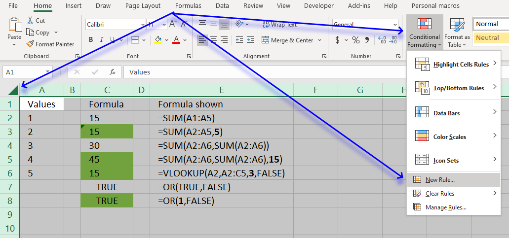 Find cells containing formulas with literal values UDF and CF