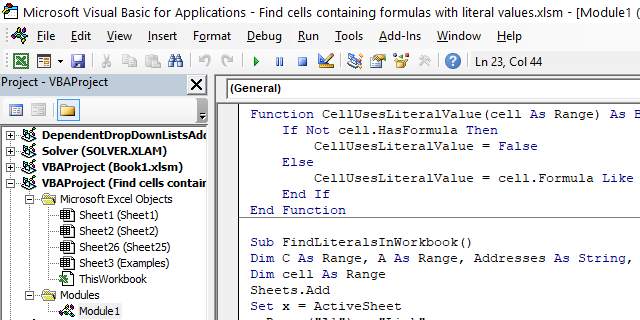 Find cells containing formulas with literal values where to put the code