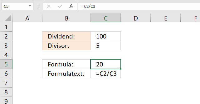 Division character in Excel