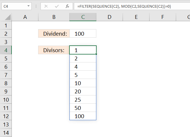 Find divisors without remainder
