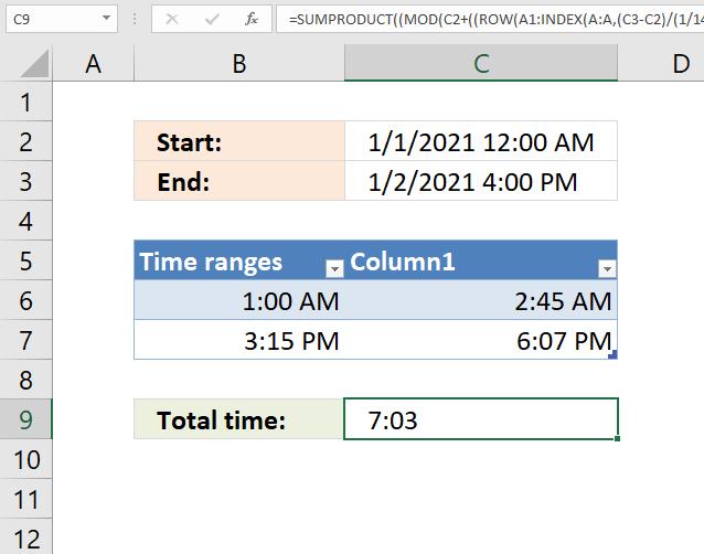 Sum numerical ranges total time