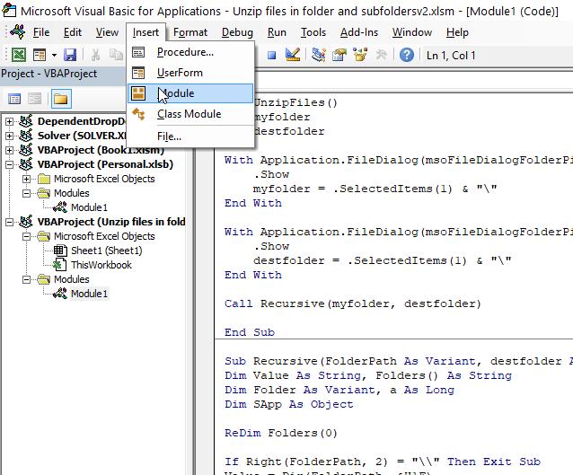 Unzip files in folder and subfolders VB Editor