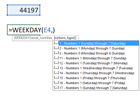 Calculate date given weekday and week number WEEKDAY function 2