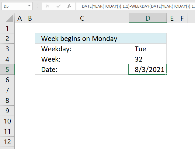 Calculate date given weekday and week number week starts on monday
