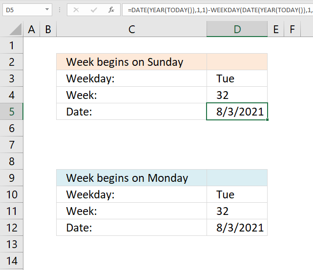 Calculate date given weekday and week number