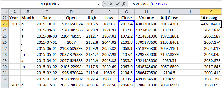 calculating moving average