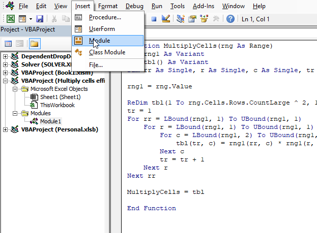 Multiply cells efficiently UDF where to put the code