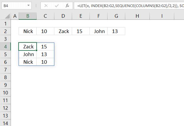 Sort items by adjacent number Excel 365 formula