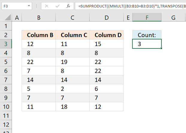 Count identical values comparing three columns on the same row