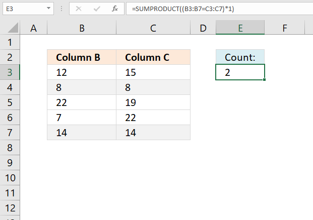Count identical values if they are on the same row regular formula