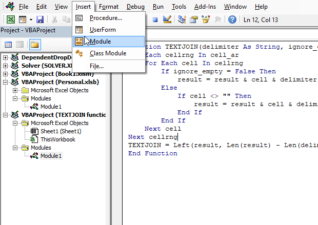 How to use the TEXTJOIN function where to put the VBA code