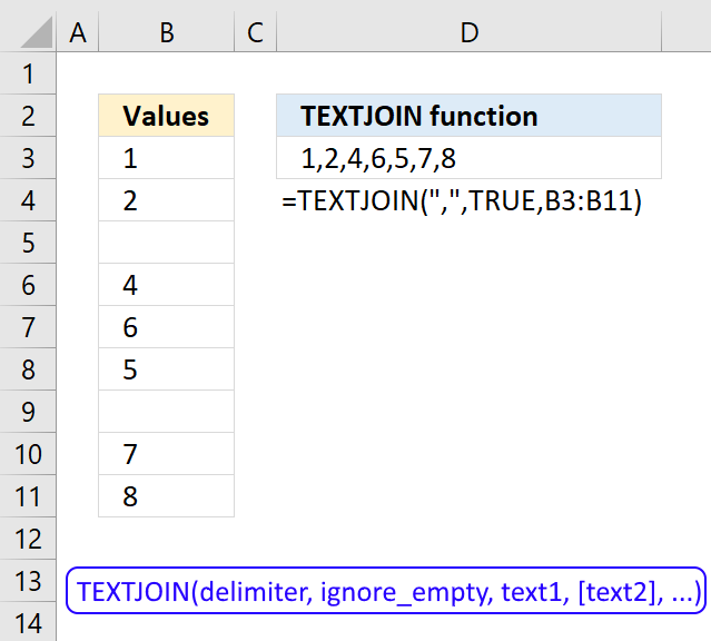 How to use the TEXTJOIN function
