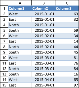 create an excel defined table1