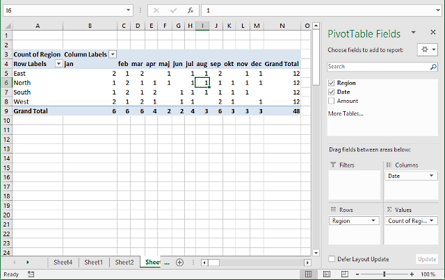 pivot table - Values area2