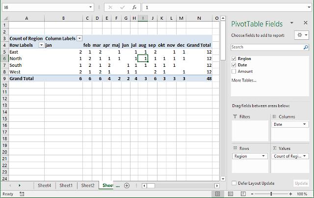 pivot table - Values area2