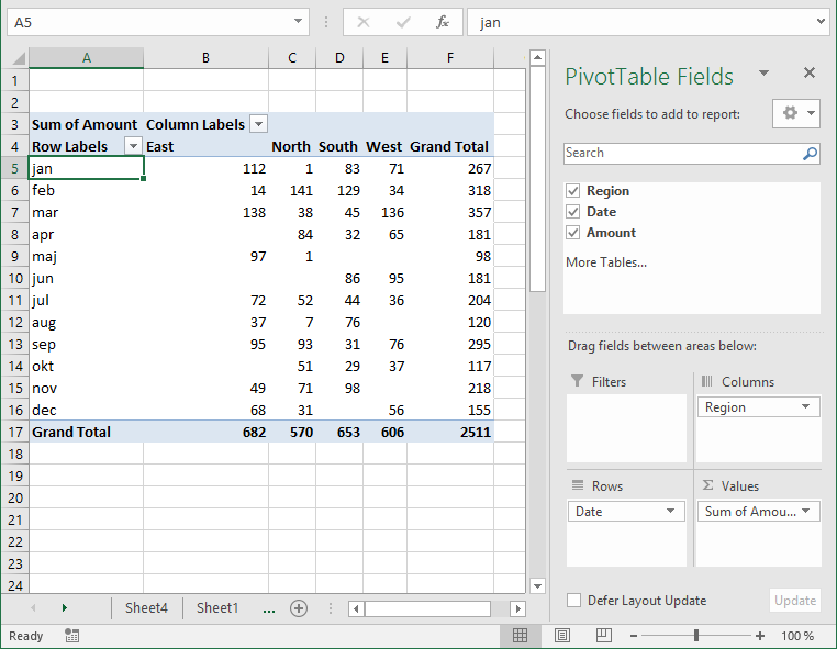 pivot table - columns area