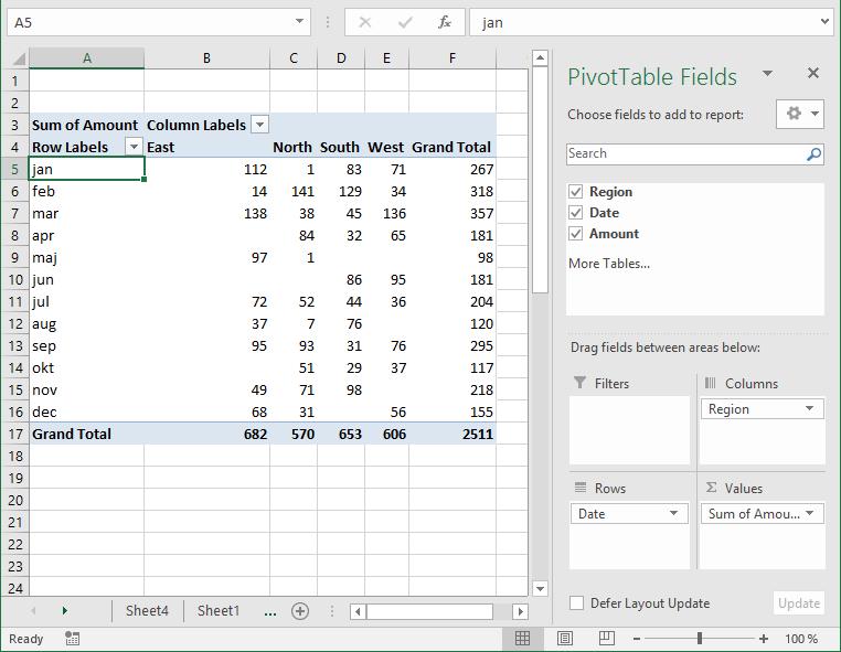 pivot table - columns area