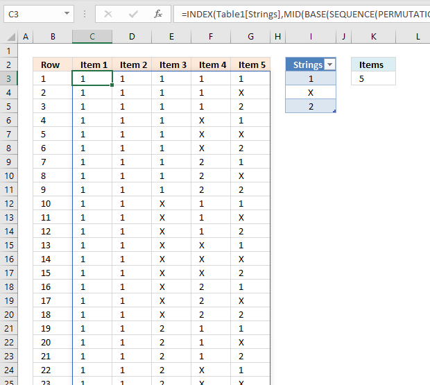 List permutations with repetition and how many to choose from Excel 365 formula