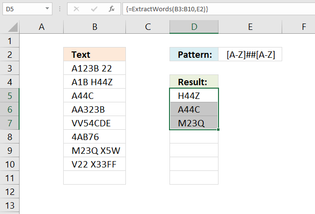 Extract words from cell range if regex pattern matches UDF