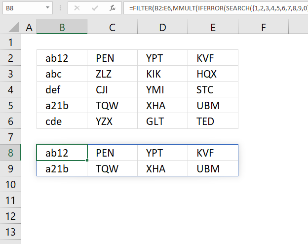 How to extract rows containing digits Excel 365 formula