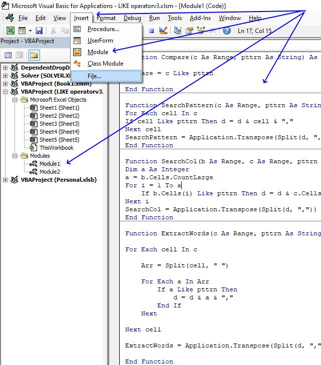 LIKE operator where to put the code 1