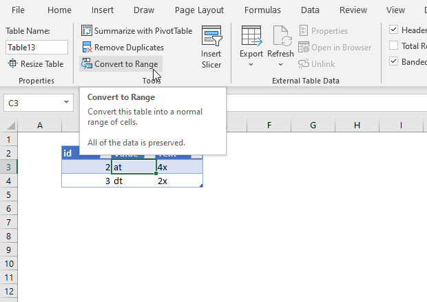 Convert Excel Table to normal range