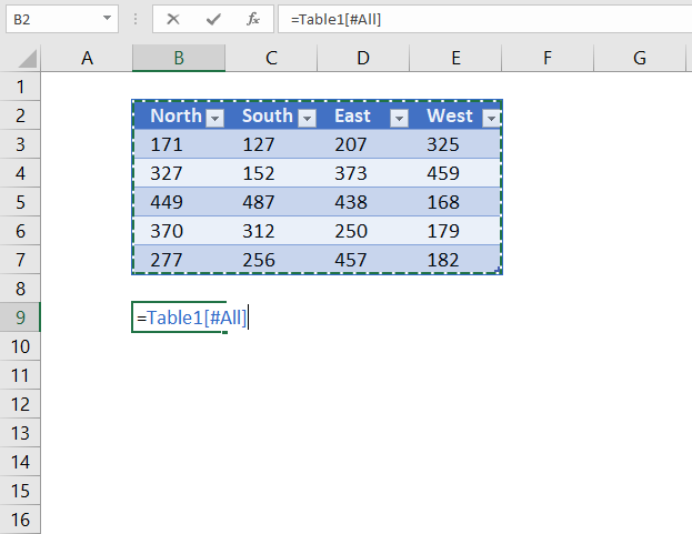 reference entire excel table