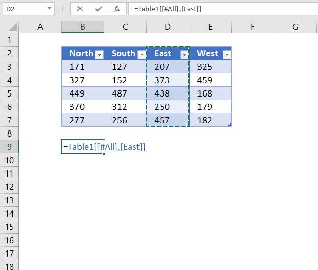 reference excel table column and column header name