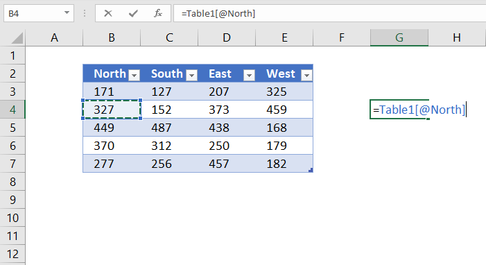 reference excel table value on the same row