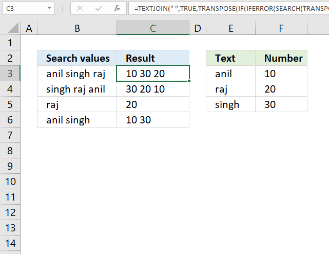 Split search value using delimiter and search for each substring array formula